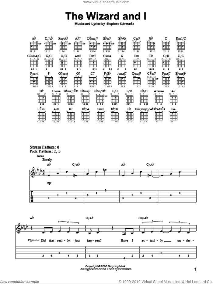 The Wizard And I (from Wicked) sheet music for guitar solo (easy tablature) by Stephen Schwartz and Wicked (Musical), easy guitar (easy tablature)