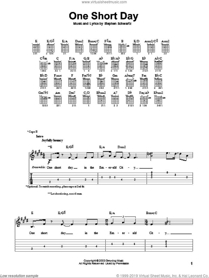 One Short Day (from Wicked) sheet music for guitar solo (easy tablature) by Stephen Schwartz and Wicked (Musical), easy guitar (easy tablature)