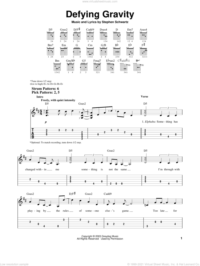 Defying Gravity (from Wicked) sheet music for guitar solo (easy tablature) by Stephen Schwartz and Wicked (Musical), easy guitar (easy tablature)