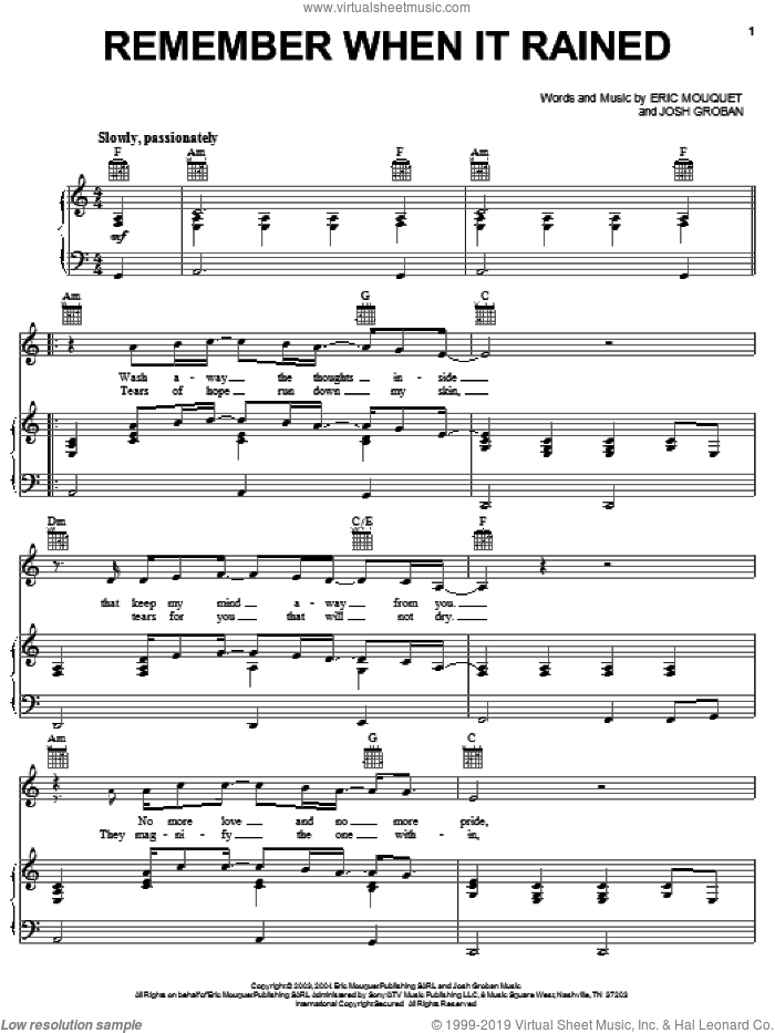 Remember When It Rained sheet music for voice, piano or guitar by Josh Groban and Eric Mouquet, intermediate skill level