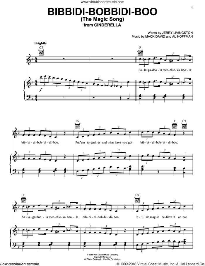 Bibbidi-Bobbidi-Boo (The Magic Song) sheet music for voice, piano or guitar by Louis Armstrong, Bobby McFerrin, Al Hoffman, Jerry Livingston and Mack David, intermediate skill level