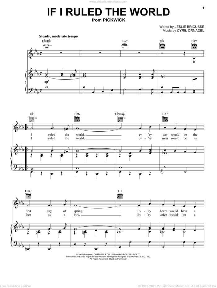 If I Ruled The World sheet music for voice, piano or guitar by Leslie Bricusse and Cyril Ornadel, intermediate skill level