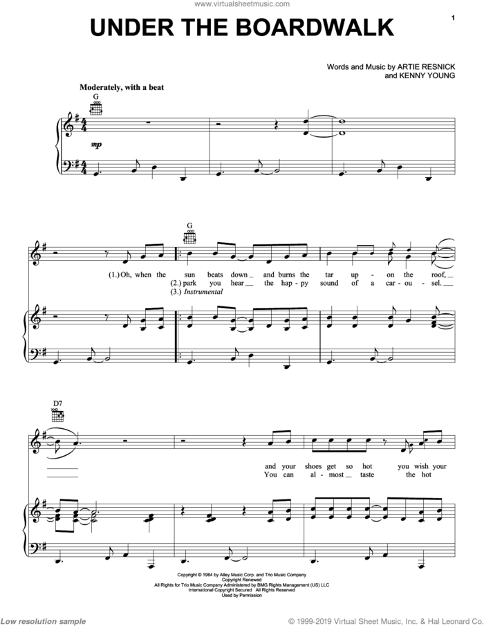 Under The Boardwalk sheet music for voice, piano or guitar by The Drifters, Bette Midler, The Jackson 5, Artie Resnick and Kenny Young, intermediate skill level