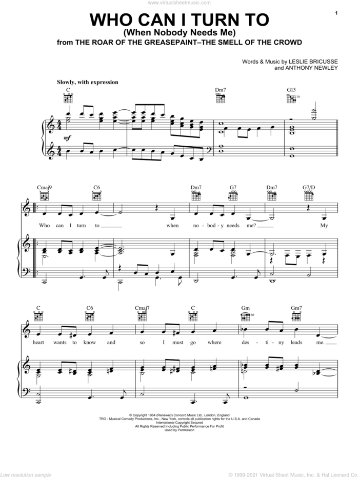 Who Can I Turn To (When Nobody Needs Me) sheet music for voice, piano or guitar by Tony Bennett, Anthony Newley and Leslie Bricusse, intermediate skill level