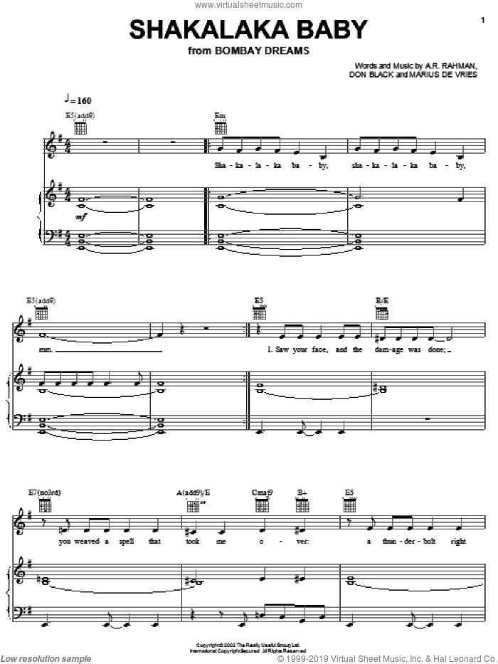 Shakalaka Baby sheet music for voice, piano or guitar by Preeya Kalidas, A.R. Rahman, Don Black and Marius De Vries, intermediate skill level