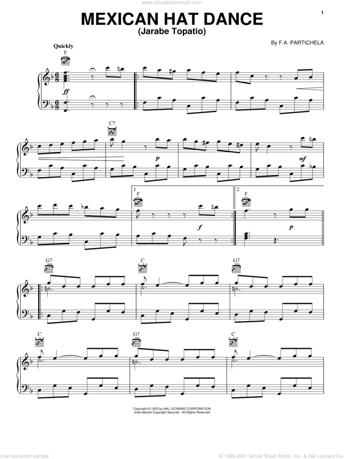 Mexican Hat Dance (Jarabe Topatio) sheet music for voice, piano or guitar by F.A. Partichela, intermediate skill level