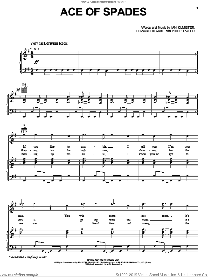 Ace Of Spades sheet music for voice, piano or guitar by Motorhead, Edward Clarke, Ian Kilmister and Philip Taylor, intermediate skill level