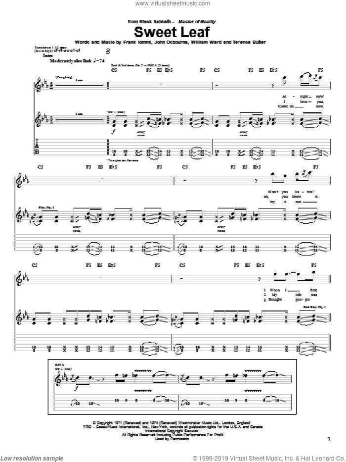 Sweet Leaf sheet music for guitar (tablature) by Black Sabbath, Ozzy Osbourne, Frank Iommi, John Osbourne, Terence Butler and William Ward, intermediate skill level