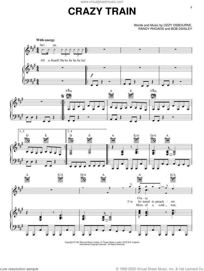 Crazy Train sheet music for voice, piano or guitar by Ozzy Osbourne, Bob Daisley and Randy Rhoads, intermediate skill level