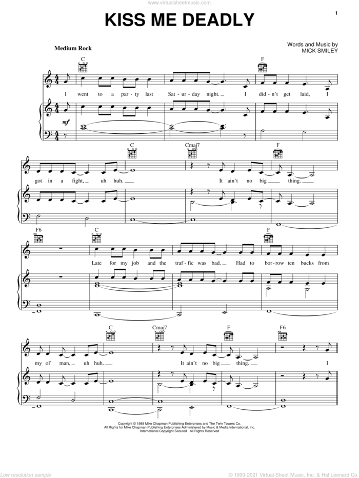 Kiss Me Deadly sheet music for voice, piano or guitar by Lita Ford and Mick Smiley, intermediate skill level