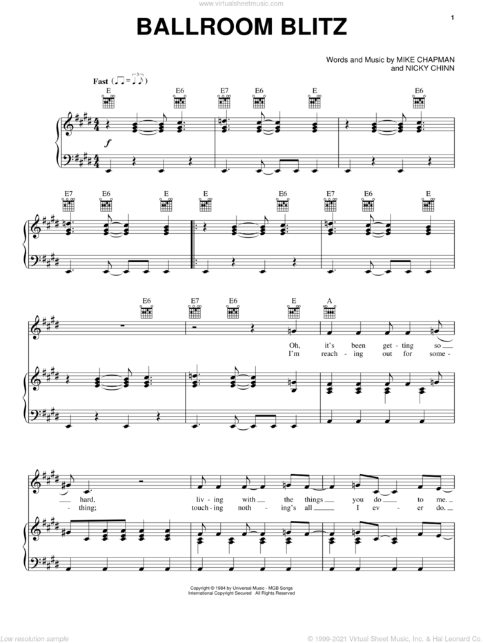 Ballroom Blitz sheet music for voice, piano or guitar by Sweet, Krokus, Mike Chapman and Nicky Chinn, intermediate skill level