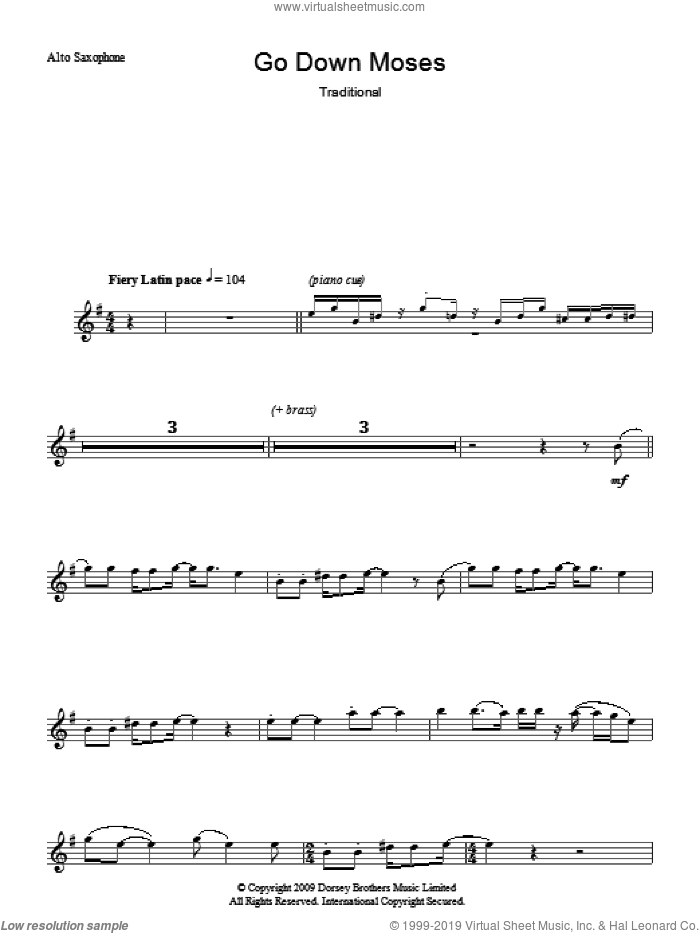 Go Down Moses sheet music for voice and other instruments (fake book), intermediate skill level