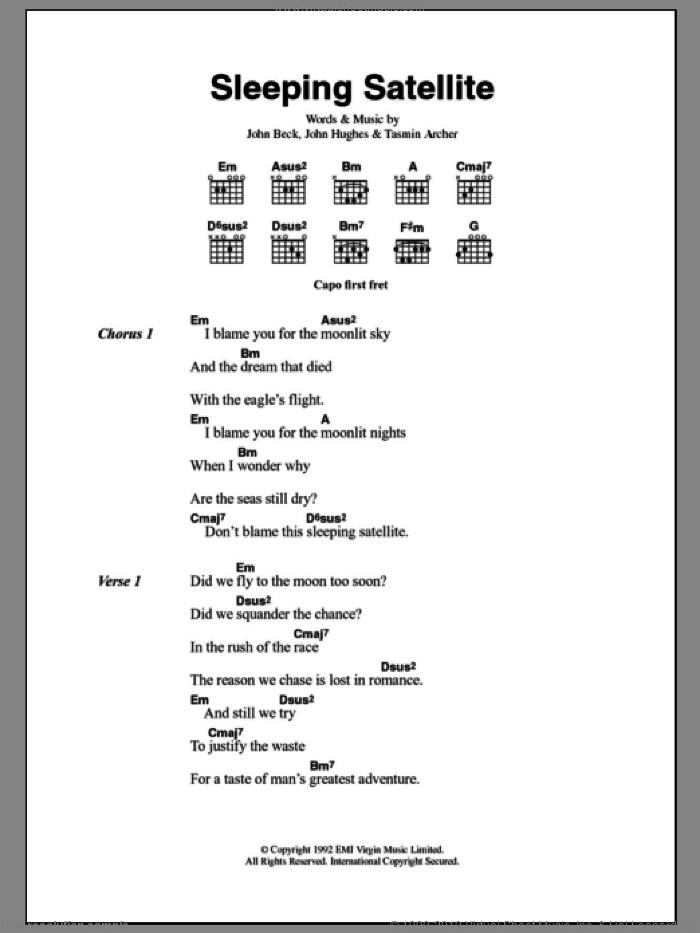 Sleeping Satellite sheet music for guitar (chords) by Tasmin Archer, John Beck and John Hughes, intermediate skill level