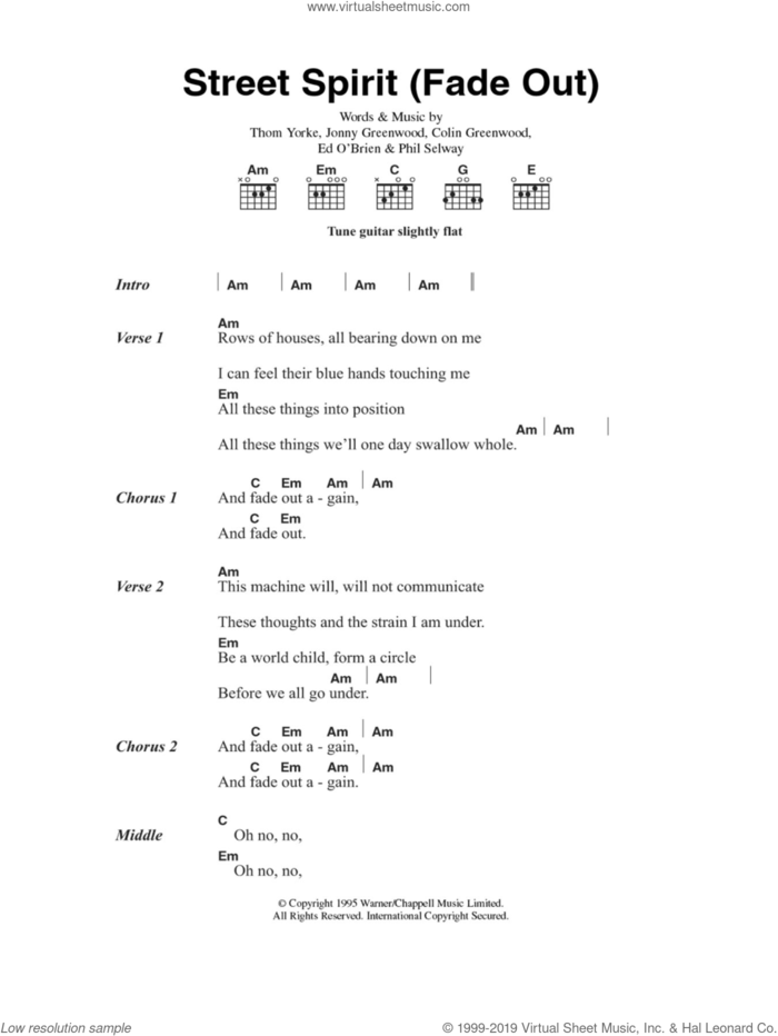Street Spirit (Fade Out) sheet music for guitar (chords) by Radiohead, Colin Greenwood, Jonny Greenwood, Phil Selway and Thom Yorke, intermediate skill level