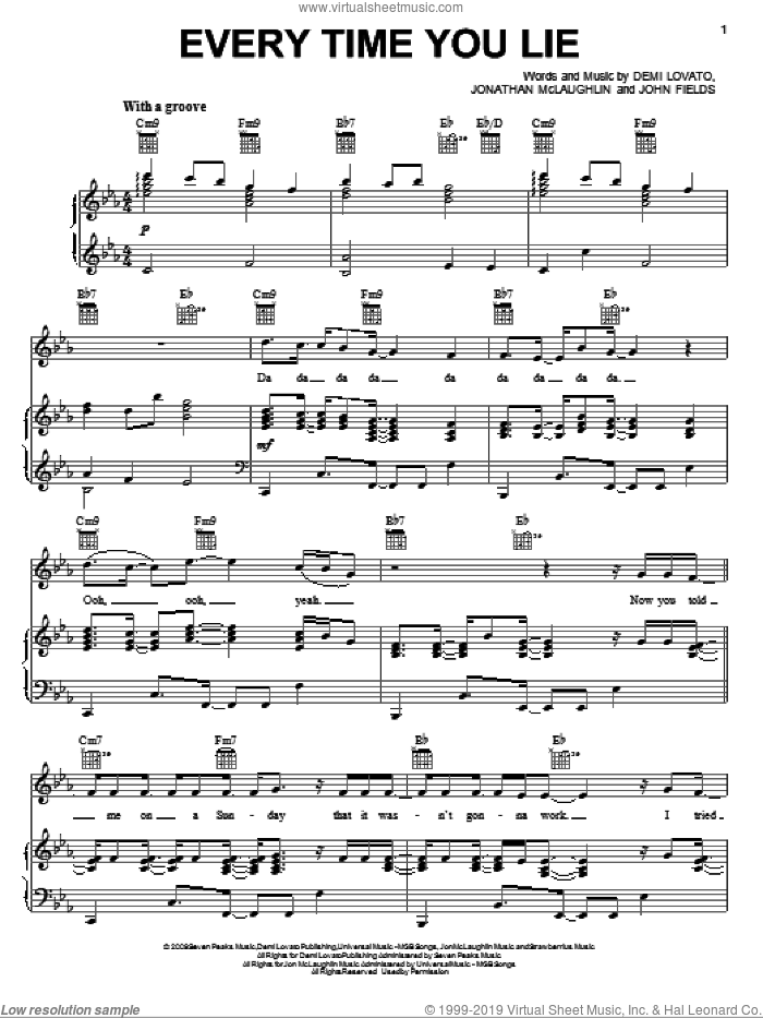 Every Time You Lie sheet music for voice, piano or guitar by Demi Lovato, John Fields and John McLaughlin, intermediate skill level