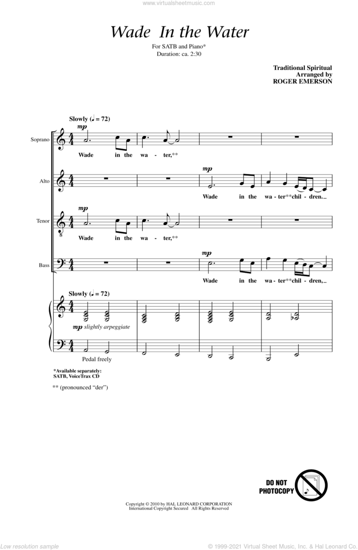 Wade In The Water sheet music for choir (SATB: soprano, alto, tenor, bass) by Roger Emerson and Miscellaneous, intermediate skill level