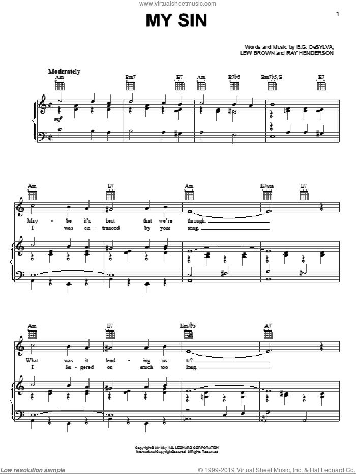 My Sin sheet music for voice, piano or guitar by Buddy DeSylva, Lew Brown and Ray Henderson, intermediate skill level