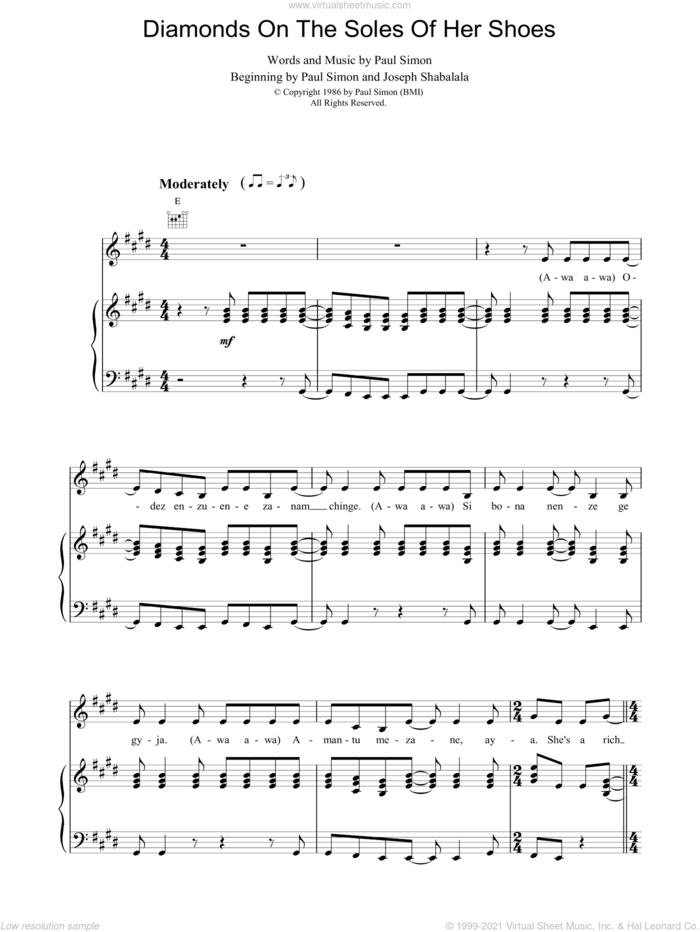 Diamonds On The Soles Of Her Shoes sheet music for voice, piano or guitar by Paul Simon and Joseph Shabalala, intermediate skill level