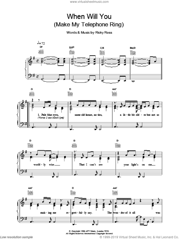 When Will You (Make My Telephone Ring) sheet music for voice, piano or guitar by Deacon Blue and Ricky Ross, intermediate skill level