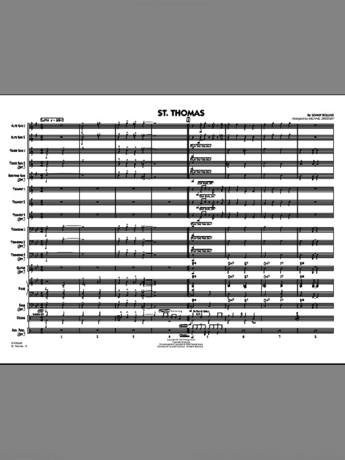 St. Thomas (COMPLETE) sheet music for jazz band by Sonny Rollins and Michael Sweeney, intermediate skill level