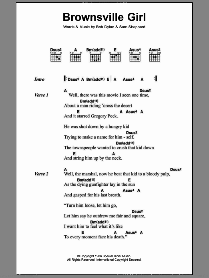 Brownsville Girl sheet music for guitar (chords) by Bob Dylan and Sam Sheppard, intermediate skill level