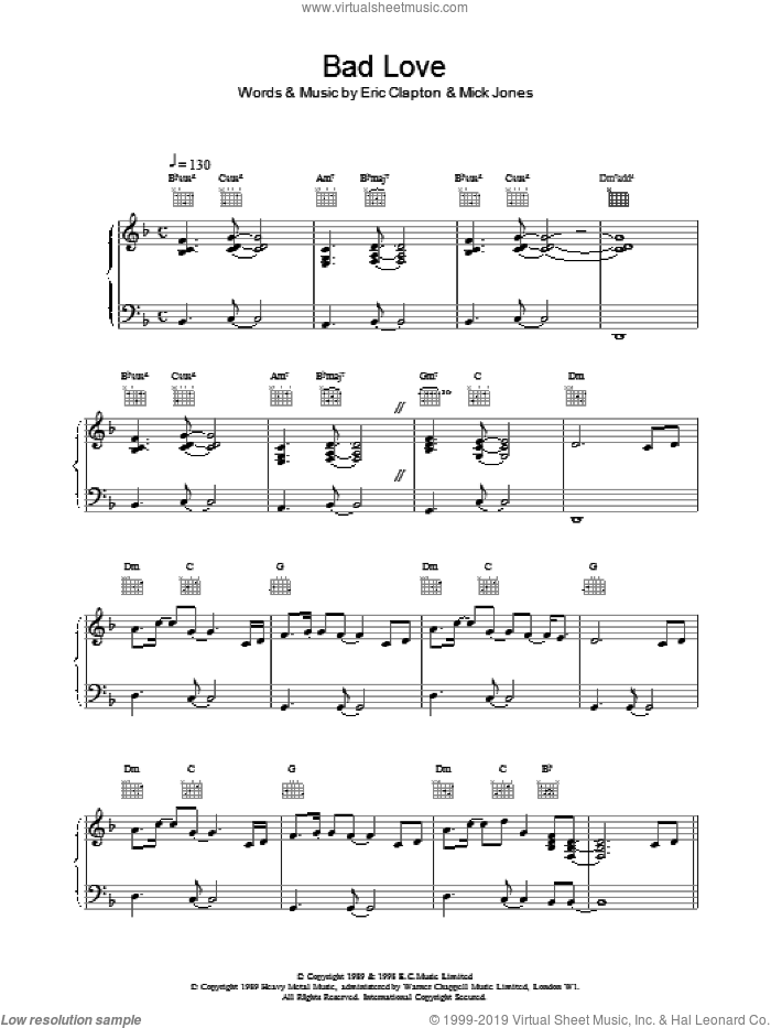Bad Love sheet music for voice, piano or guitar by Eric Clapton and Mick Jones, intermediate skill level