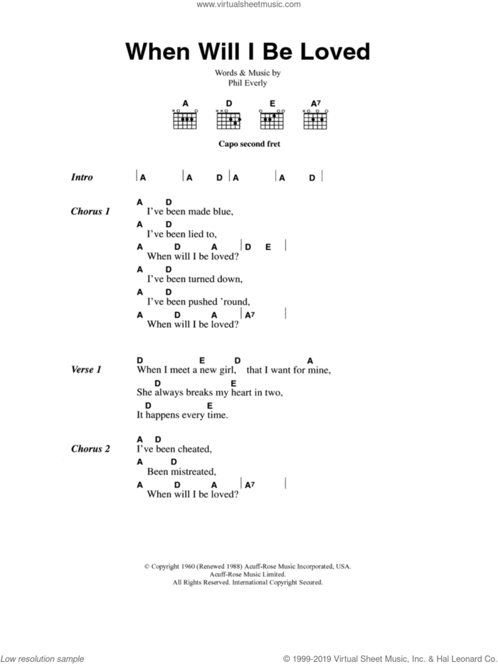 When Will I Be Loved sheet music for guitar (chords) by Everly Brothers, Linda Ronstadt and Phil Everly, intermediate skill level