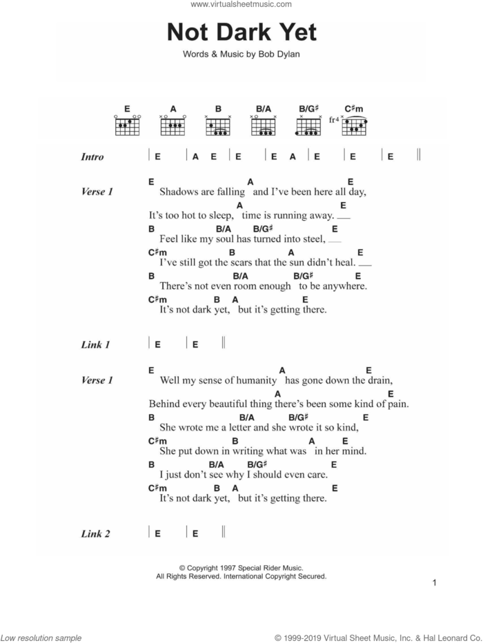 Not Dark Yet sheet music for guitar (chords) by Bob Dylan, intermediate skill level