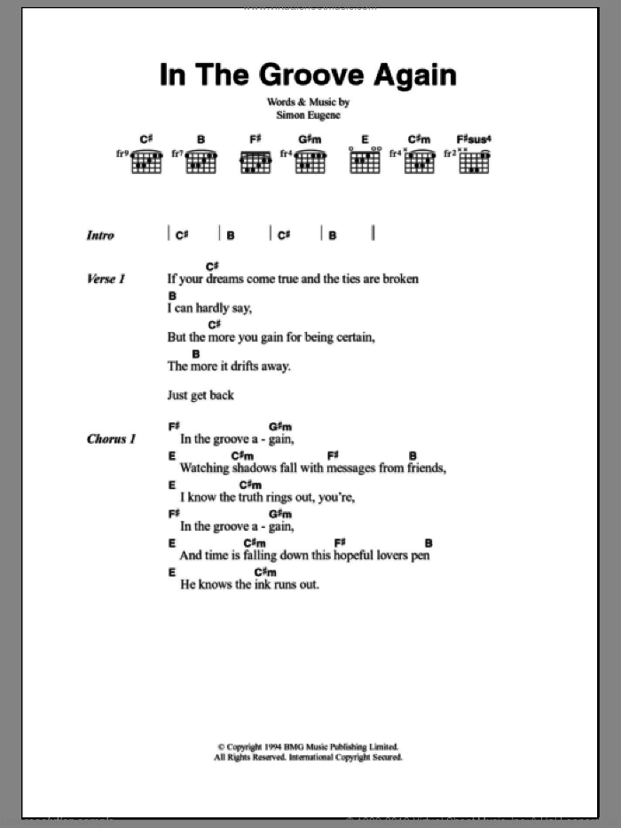 In The Groove Again sheet music for guitar (chords) by Out Of My Hair and Simon Eugene, intermediate skill level