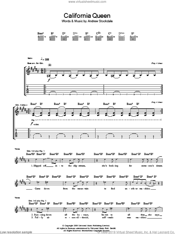 California Queen sheet music for guitar (tablature) by Wolfmother and Andrew Stockdale, intermediate skill level