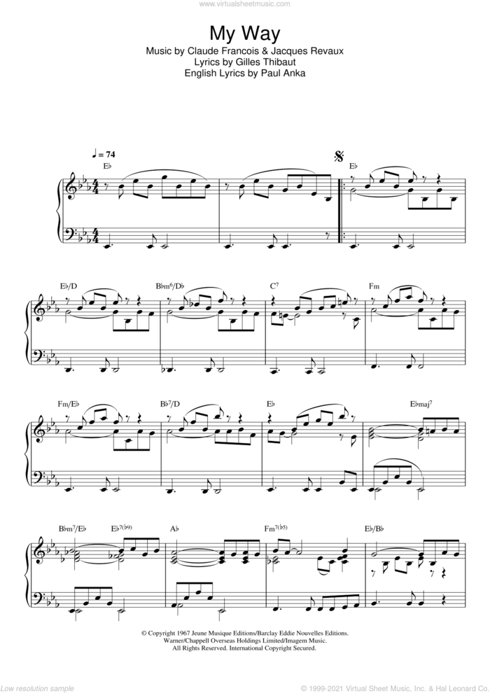 My Way sheet music for piano solo by Paul Anka, Elvis Presley, Frank Sinatra, Claude Francois, Gilles Thibaut and Jacques Revaux, intermediate skill level