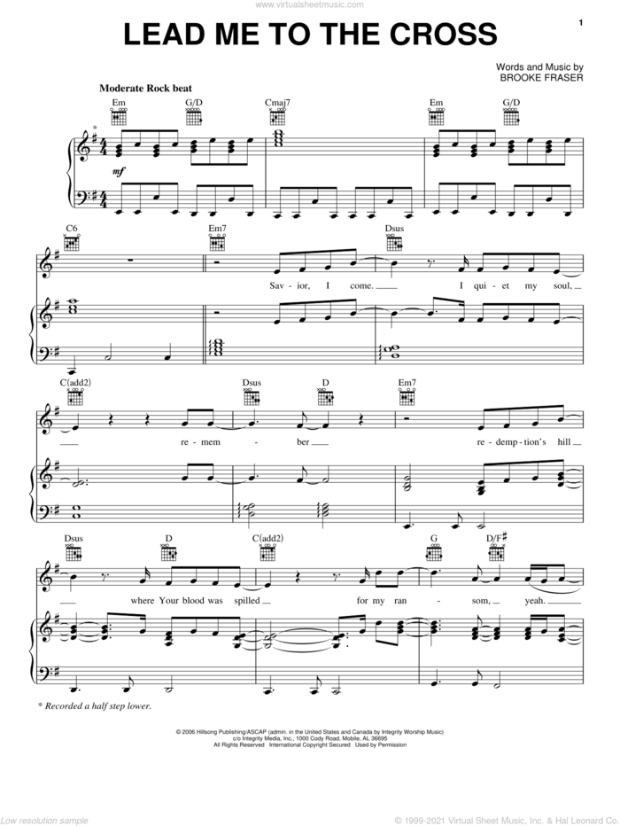 Lead Me To The Cross sheet music for voice, piano or guitar by Chris And Conrad and Brooke Fraser, intermediate skill level
