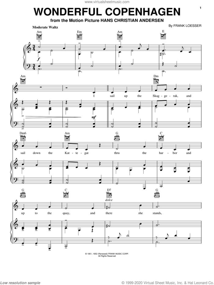 Wonderful Copenhagen sheet music for voice, piano or guitar by Frank Loesser, intermediate skill level