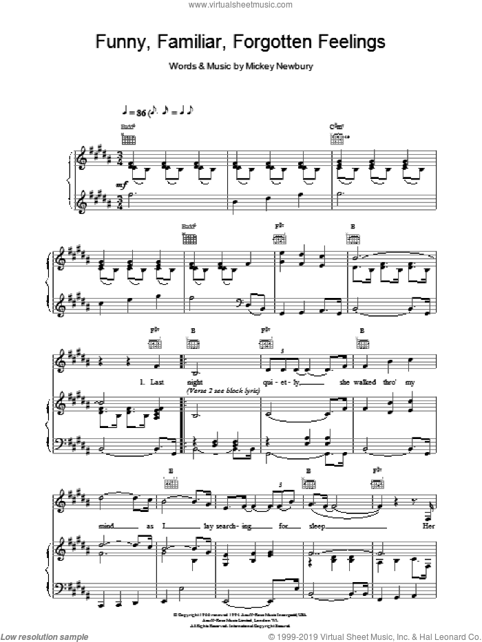 Funny Familiar Forgotten Feelings sheet music for voice, piano or guitar by Tom Jones and Mickey Newbury, intermediate skill level