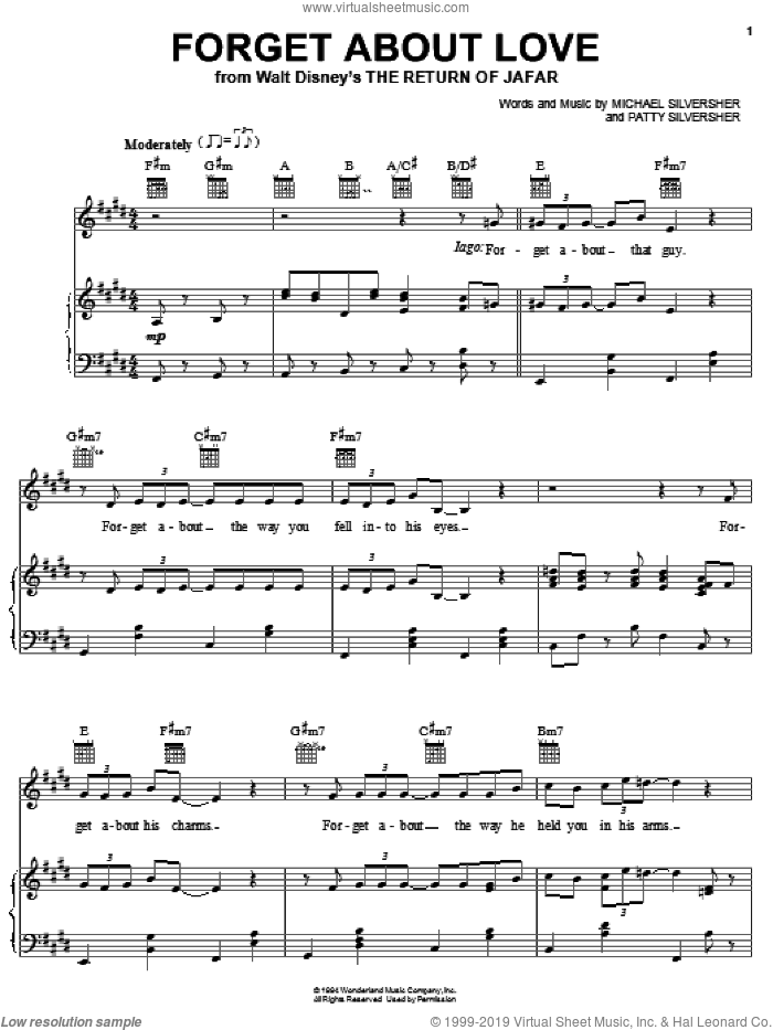 Forget About Love (from The Return of Jafar) sheet music for voice, piano or guitar by Michael Silversher and Patty Silversher, intermediate skill level