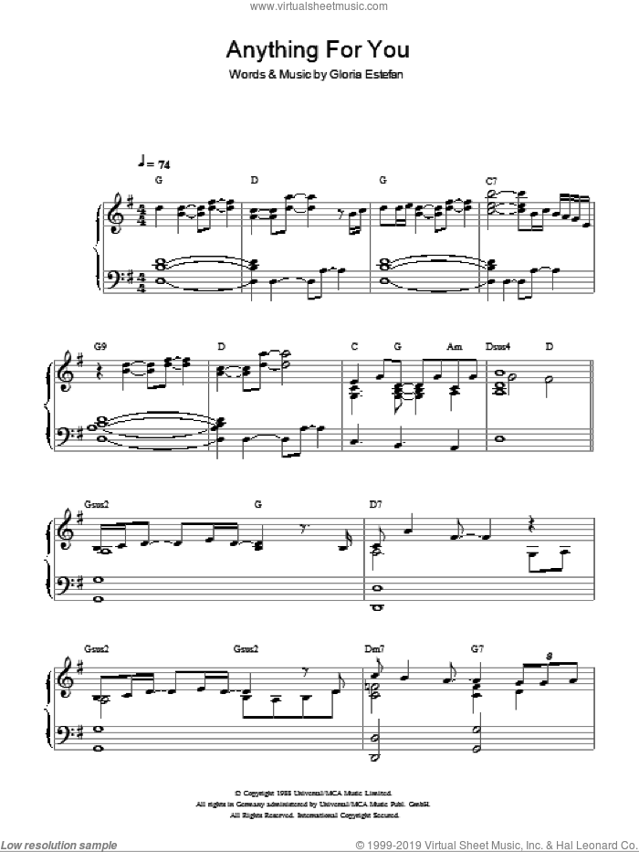 Anything For You sheet music for piano solo by Gloria Estefan, intermediate skill level