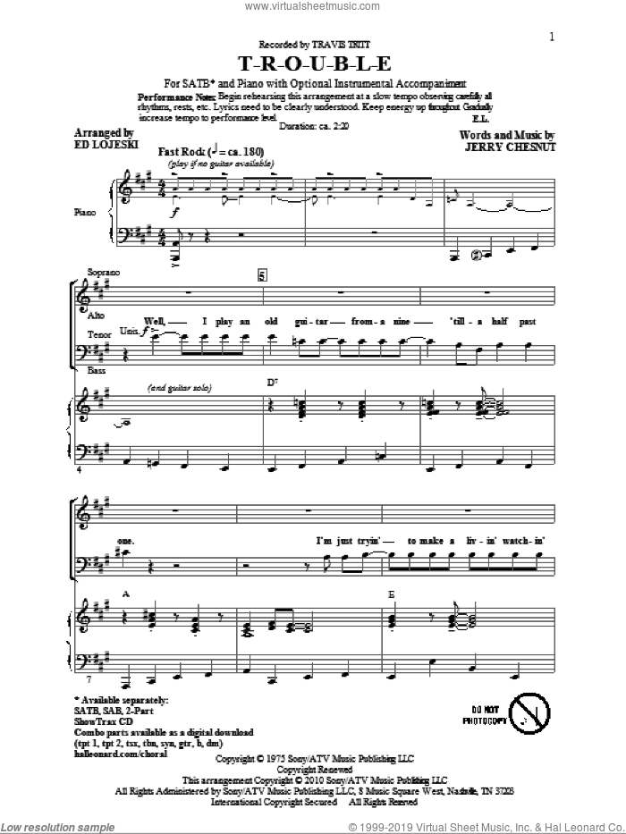 T-R-O-U-B-L-E sheet music for choir (SATB: soprano, alto, tenor, bass) by Ed Lojeski, Jerry Chesnut, Elvis Presley and Travis Tritt, intermediate skill level
