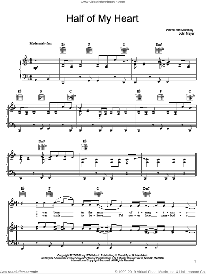 Half Of My Heart sheet music for voice, piano or guitar by John Mayer featuring Taylor Swift, Taylor Swift and John Mayer, intermediate skill level