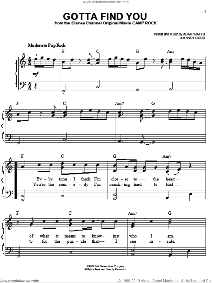 Gotta Find You (from Camp Rock) sheet music for piano solo by Joe Jonas, Camp Rock (Movie), Jonas Brothers, Adam Watts and Andy Dodd, easy skill level