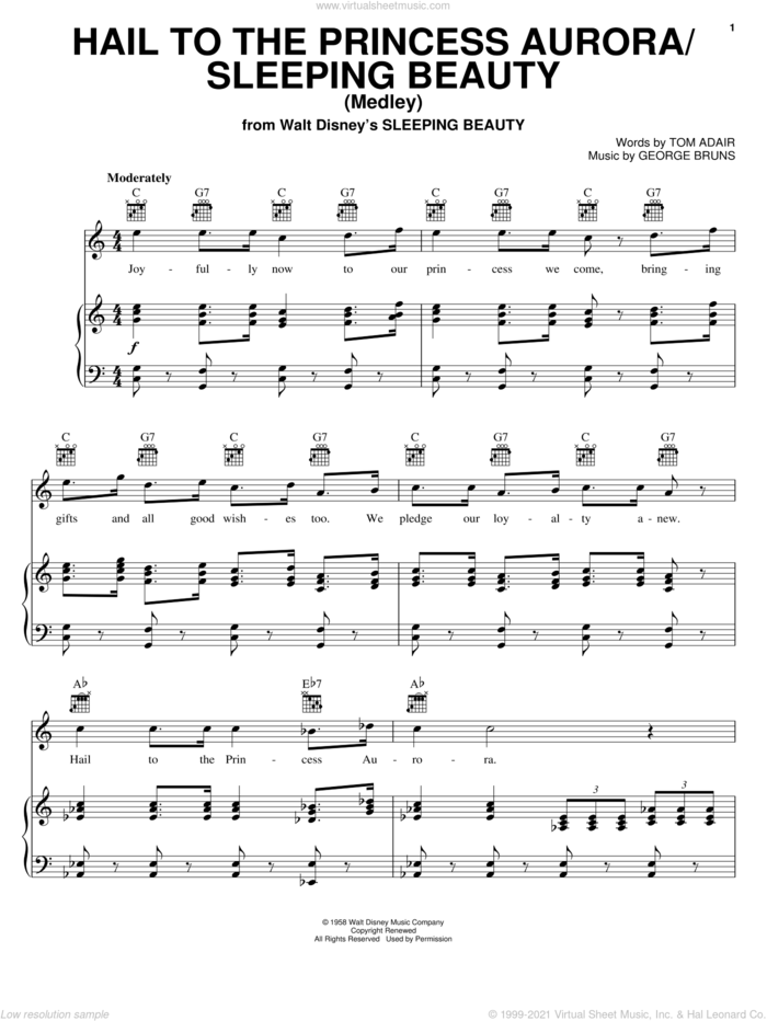 Hail To The Princess Aurora sheet music for voice, piano or guitar by Tom Adair and George Bruns, intermediate skill level