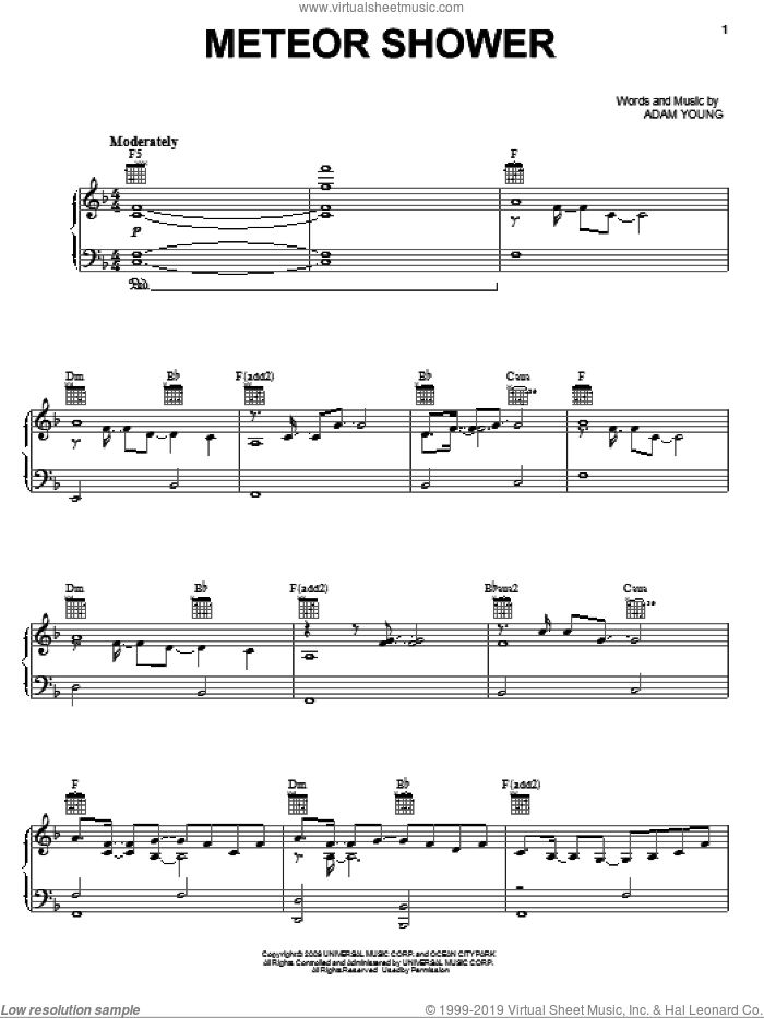 Meteor Shower sheet music for voice, piano or guitar by Owl City and Adam Young, intermediate skill level