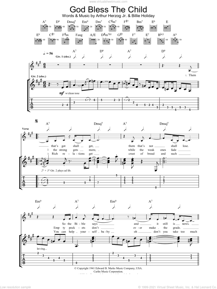 God Bless The Child sheet music for guitar (tablature) by Eva Cassidy and Miscellaneous, intermediate skill level