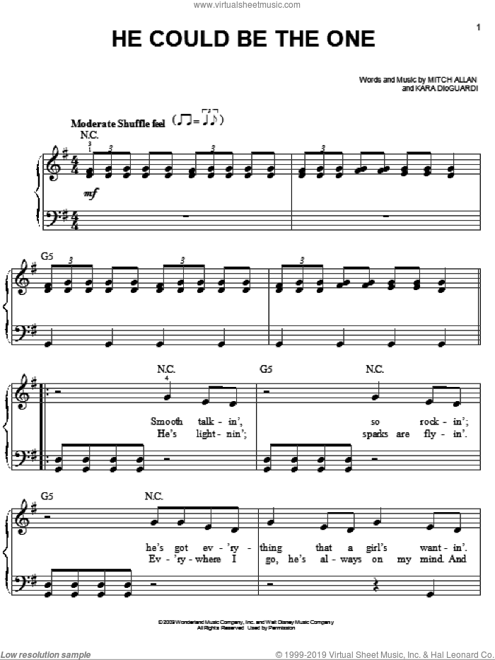 He Could Be The One sheet music for piano solo by Hannah Montana, Miley Cyrus, Kara DioGuardi and Mitch Allan, easy skill level