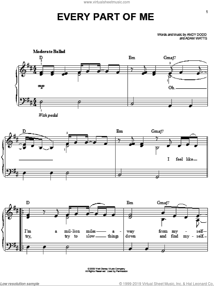 Every Part Of Me sheet music for piano solo by Hannah Montana, Miley Cyrus, Adam Watts and Andy Dodd, easy skill level
