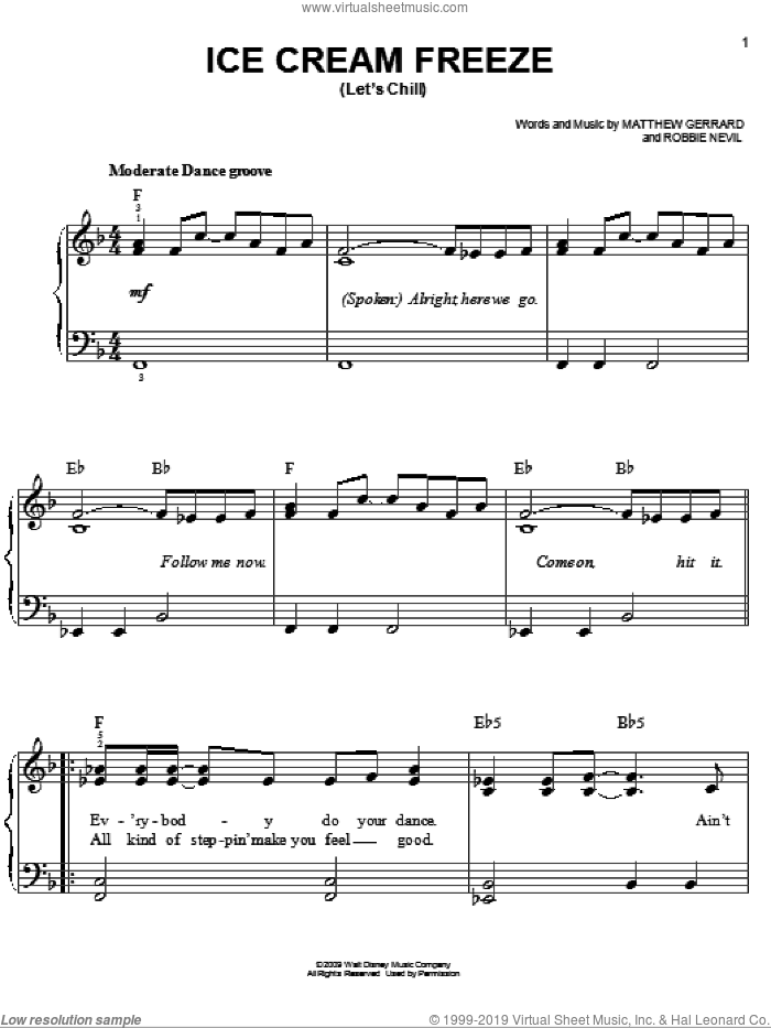 Ice Cream Freeze (Let's Chill) sheet music for piano solo by Hannah Montana, Miley Cyrus, Matthew Gerrard and Robbie Nevil, easy skill level