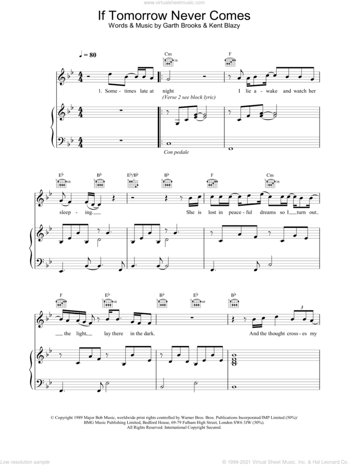 If Tomorrow Never Comes sheet music for voice, piano or guitar by Ronan Keating, Garth Brooks and Kent Blazy, intermediate skill level