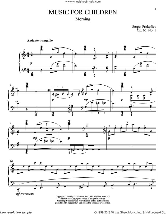 Morning sheet music for piano solo by Sergei Prokofiev, Jeffrey Biegel and Matthew Edwards, classical score, intermediate skill level