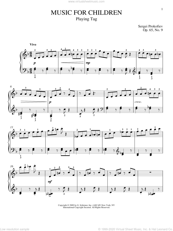 Playing Tag sheet music for piano solo by Sergei Prokofiev, Jeffrey Biegel and Matthew Edwards, classical score, intermediate skill level