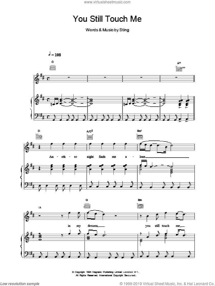 You Still Touch Me sheet music for voice, piano or guitar by Sting, intermediate skill level