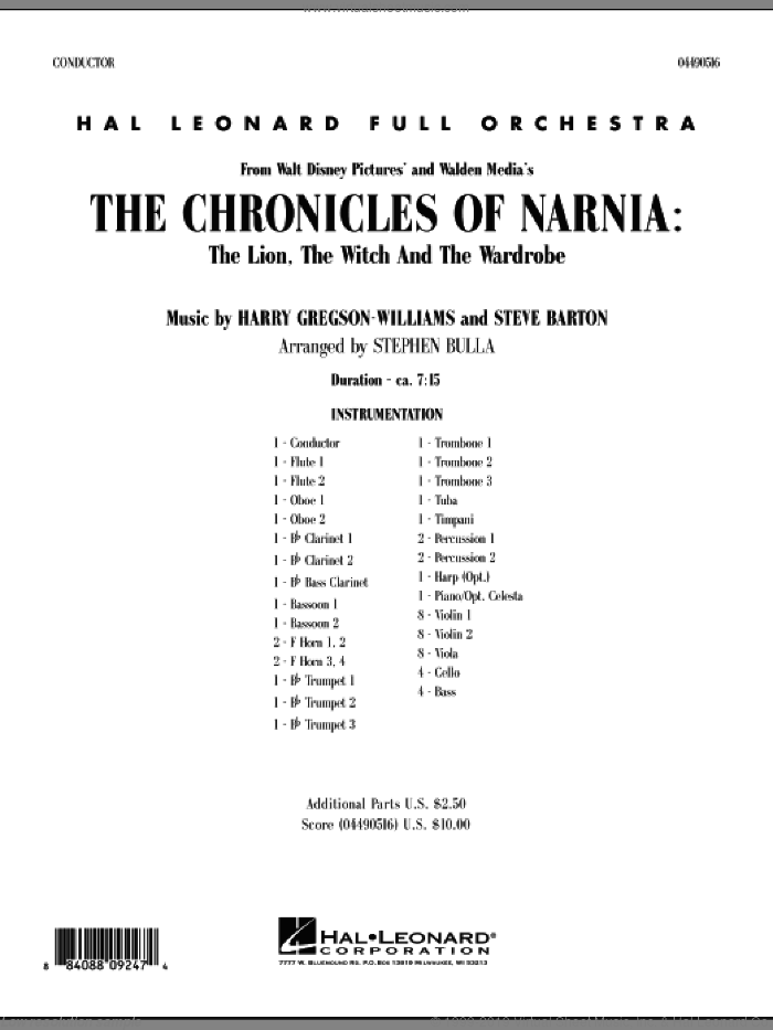 Music from The Chronicles Of Narnia: The Lion, The Witch And The Wardrobe (COMPLETE) sheet music for full orchestra by Harry Gregson-Williams, Stephen Bulla and Steve Barton, intermediate skill level